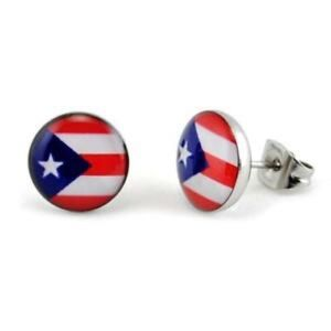 Puerto Rico Flag Stud Earrings